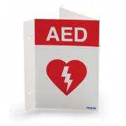 Philips AED Wall Sign - Red, English