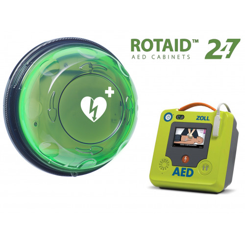 ZOLL AED 3 Complete Package Rotaid 24/7 Fully Monitored, Heated, Alarmed AED Cabinet