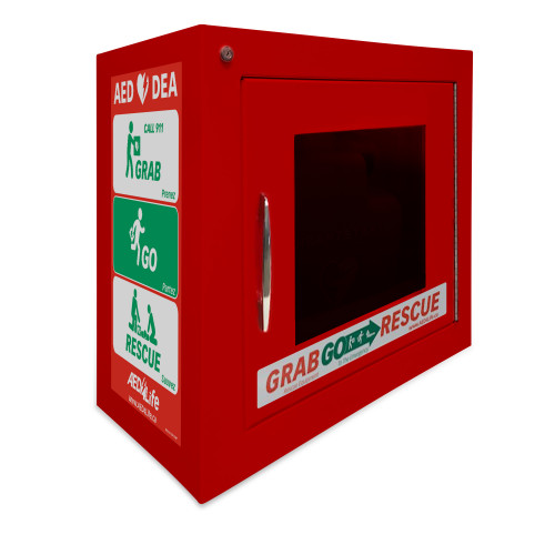 Surface Mount AED Cabinet with Alarm - Compact (RED)