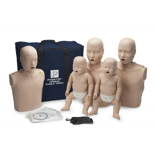 Prestan Professional CPR-AED Training Manikin (Medium Skin, With CPR Monitor) Family Pack
