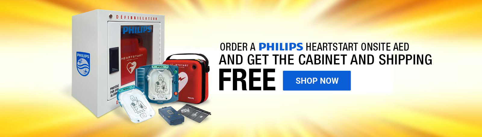 Free Cabinet and Shipping with Philips HeartStart AED Orders